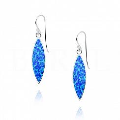 Kolczyki srebrne z opalem niebieskim długie wiszące