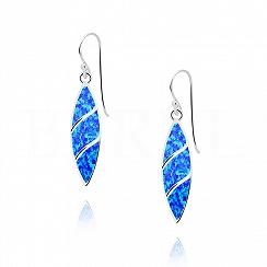 Kolczyki srebrne z opalem niebieskim wiszące długie
