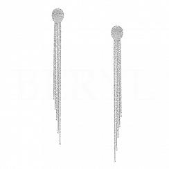 Kolczyki długie wiszące błyszczące brokatowane łańcuszki srebro powlekane rodem