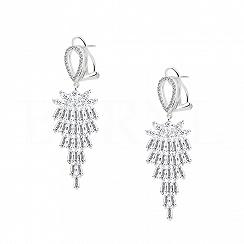 Kolczyki srebrne wiszące z białą cyrkonią