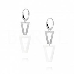 Kolczyki srebrne wiszące trójkąty z białą emalią