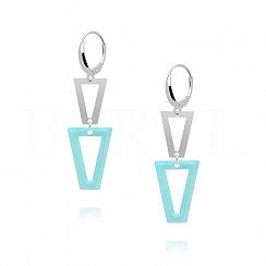 Kolczyki srebrne wiszące trójkąty z niebieską emalią