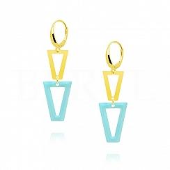 Kolczyki srebrne pozłacane wiszące trójkąty z niebieską emalią