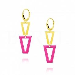 Kolczyki srebrne pozłacane wiszące trójkąty z różową emalią