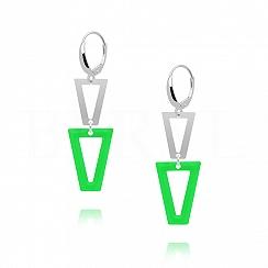 Kolczyki srebrne wiszące trójkąty z zieloną emalią