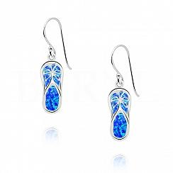 Kolczyki srebrne z opalem niebieskim klapki