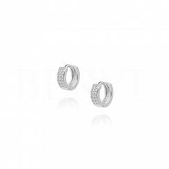 Kolczyki srebrne kółeczka z białymi cyrkoniami angielskie delikatne