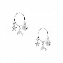 Kolczyki koła srebrne z muszelką delfinem rozgwiazdą