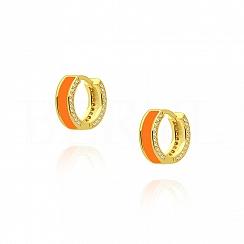 Kolczyki koła srebrne pozłacane z pomarańczową emalią i cyrkoniami