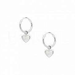 Kolczyki koła srebrne wiszące serca z masą perłową
