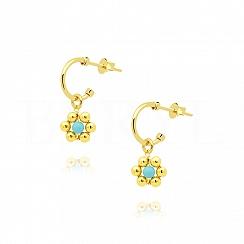 Kolczyki srebrne pozłacane z niebieskim kwiatuszkiem gładkie kuleczki