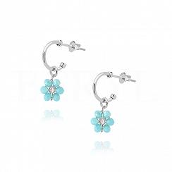 Kolczyki srebrne z niebieskim kwiatuszkiem