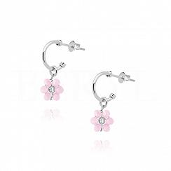 Kolczyki srebrne z różowym kwiatuszkiem
