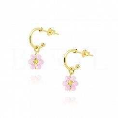 Kolczyki srebrne pozłacane z różowym kwiatuszkiem