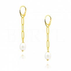 Kolczyki wiszące łańcuchy z perłą naturalną srebrne pozłacane