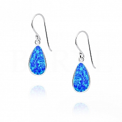 Kolczyki srebrne z opalem niebieskim łezki wiszące