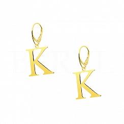 Kolczyki z literką K srebrne pozłacane