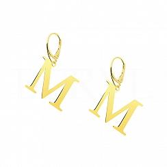 Kolczyki z literką M srebrne pozłacane