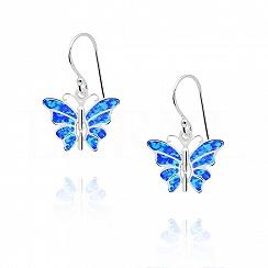 Kolczyki srebrne z opalem niebieskim motyle