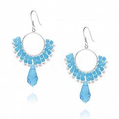 Kolczyki koła wiszące srebrne niebieskie kryształki
