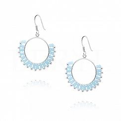 Kolczyki koła wiszące srebrne z niebieskimi kryształkami