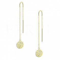 Kolczyki złote wiszące przeciągane z ażurowym kółkiem
