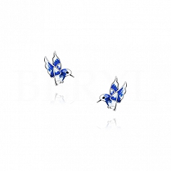 Kolczyki ptaszki niebieskie srebrne