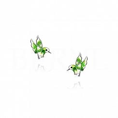 Kolczyki ptaszki zielone srebrne