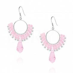 Kolczyki koła wiszące srebrne różowe kryształki