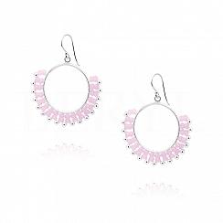 Kolczyki koła wiszące srebrne z różowymi kryształkami