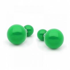 Kolczyki tribal srebrne zielone 14 mm -nowe