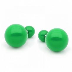 Kolczyki tribal srebrne zielone 16 mm -nowe