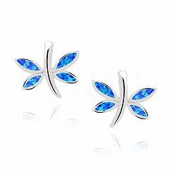 Kolczyki z opalem niebieskim ważki sztyft