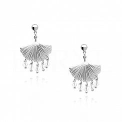 Kolczyki srebrne wiszące z białymi kryształkami swarovskiego subtelne