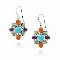 Kolczyki wiszące kwiatuszki z turkusem koralem i lapis lazuli