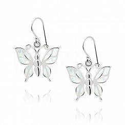 Kolczyki z opalem białym srebrne wiszące motyle