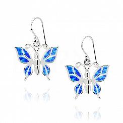 Kolczyki z opalem niebieskim srebrne wiszące motyle