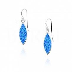 Kolczyki srebrne wiszące z opalem niebieskim