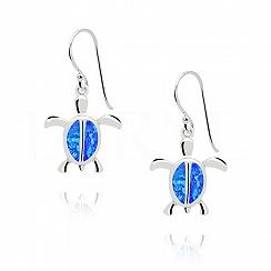 Kolczyki z opalem niebieskim srebrne żółwie