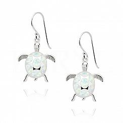 Kolczyki z opalem białym srebrne wiszące żółwie
