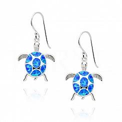 Kolczyki z opalem niebieskim srebrne wiszące żółwie