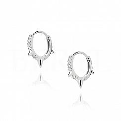 Kolczyki srebrne kółeczka z kolcami i cyrkoniami