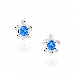 Kolczyki z opalem niebieskim żółwie sztyft