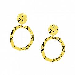 Kolczyki Duże Wiszące Tłoczone Koła Srebro 925 Pozłacane 24 karatowym Złotem