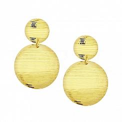 Kolczyki Duże Podwójne Koła Błyszczące Srebro 925 Pozłacane 24 Karatowym Złotem