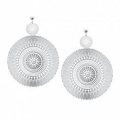 Kolczyki srebrne duże wiszące z białą cyrkonią