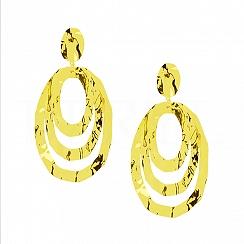 Kolczyki Duże Wiszące Tłoczone 3 Koła Srebro 925 Pozłacane 24 karatowym Złotem