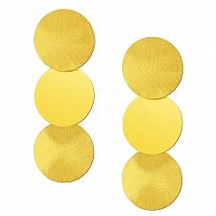 Kolczyki Duże Potrójne Koła Satynowe Srebro 925 Pozłacane 24 Karatowym Złotem