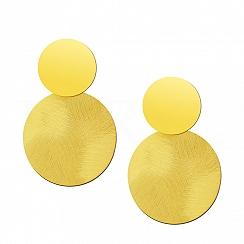 Kolczyki Duże Podwójne Koła Satynowe Srebro 925 Pozłacane 24 Karatowym Złotem