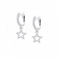 Kolczyki srebrne wiszące gwiazdki z białą cyrkonią